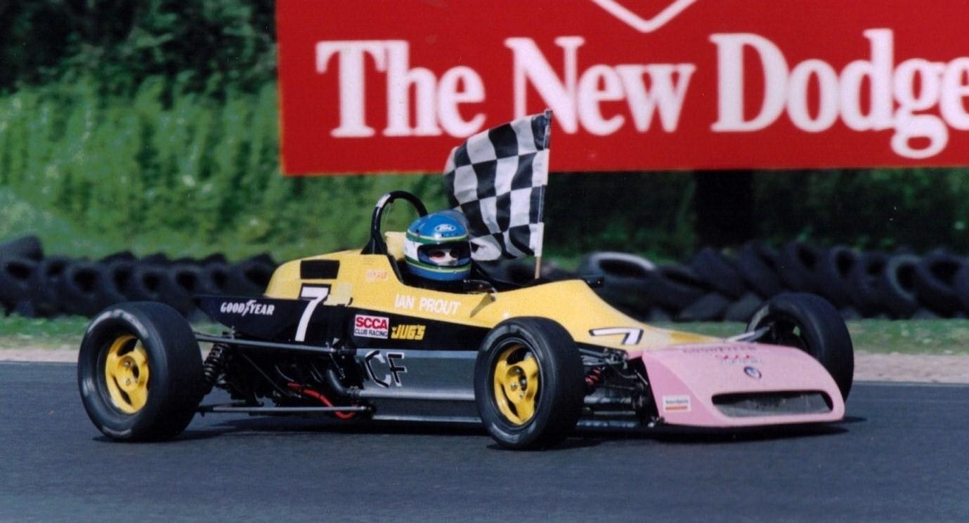 Taking a victory lap in my Formula Ford in 1997